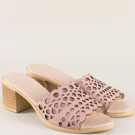 Кожени дамски чехли в розов цвят на среден ток 1961815rz