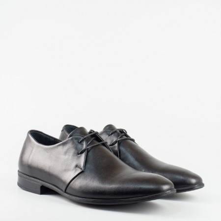 Стилни, официални мъжки обувки от естествена кожа, в класически черен цвят  196ch