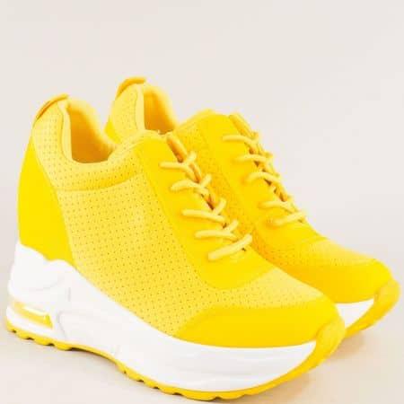 Жълти дамски маратонки с връзки на бяла платформа 197j