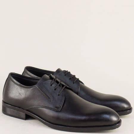 Официални мъжки обувки от черна естествена кожа 1ch