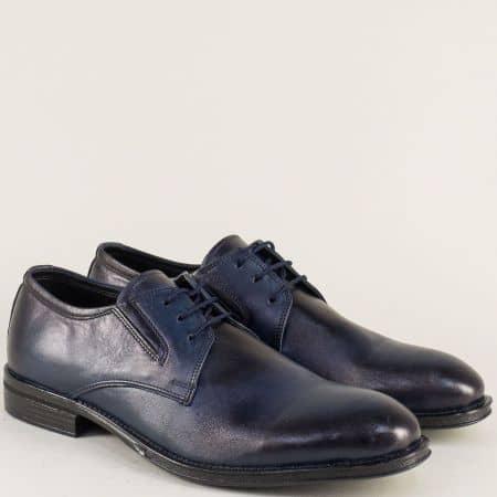 Елегантни мъжки обувки с кожена стелка в син цвят 1s
