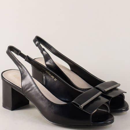 Черни дамски обувки на стабилен среден ток 200545ch