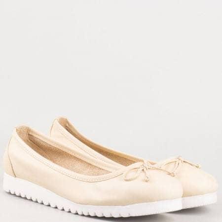 Дамски бежови ежедневни обувки с панделка от естествена кожа изцяло 2006bj