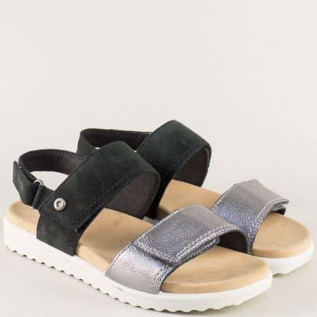 Анатомични дамски сандали в черно и сребро- Legero 200708chbrz