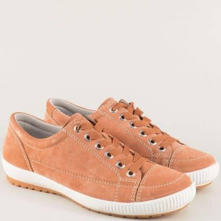 Велурени дамски обувки в оранж с кожена стелка- Legero 200820vo