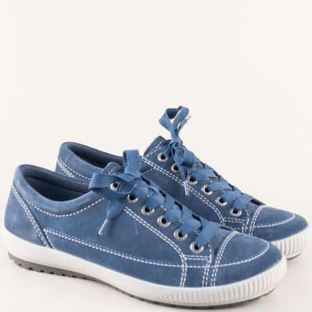 Сини дамски обувки с връзки и кожена стелка- Legero 200820vs
