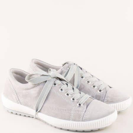 Анатомични дамски обувки от естествен велур в сив цвят 200820vsv