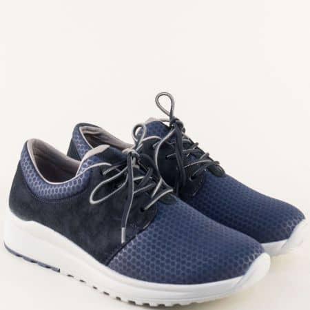 Сини дамски маратонки от естествен велур и текстил 200894s