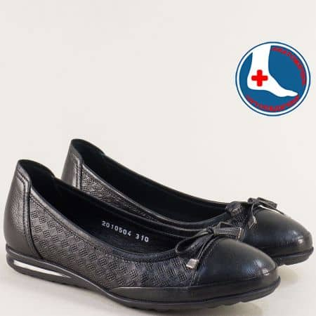 Анатомични дамски обувки в черно от естествена кожа 2010504ch
