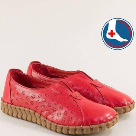 Дамски обувки с ластик от естествена кожа  в червен цвят 2010701chv