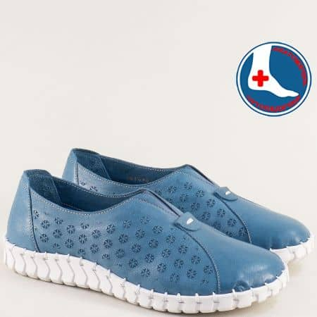 Дамски обувки в син цвят с ластик от естествена кожа 2010701s