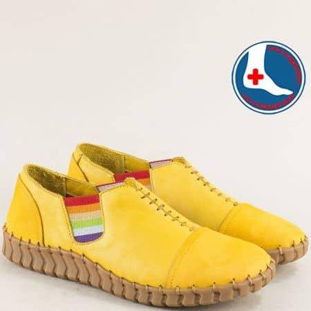 Жълти дамски обувки от естествена кожа с два латика 2010703j