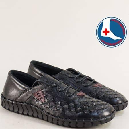 Анатомични дамски обувки от естествена кожа в черно 2010705ch
