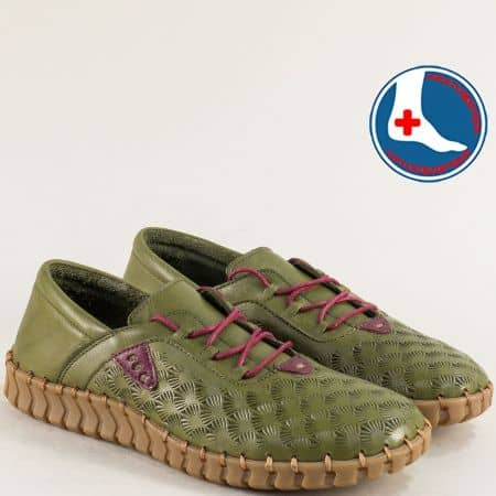 Зелени дамски обувки с връзки и кожена стелка 2010705z