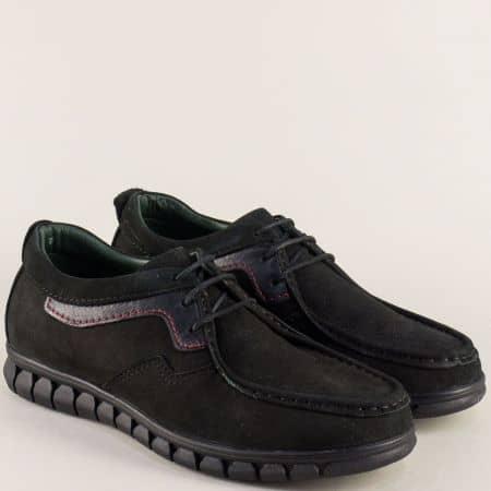 Черни мъжки обувки от естествен набук с кожена стелка 2017137nch