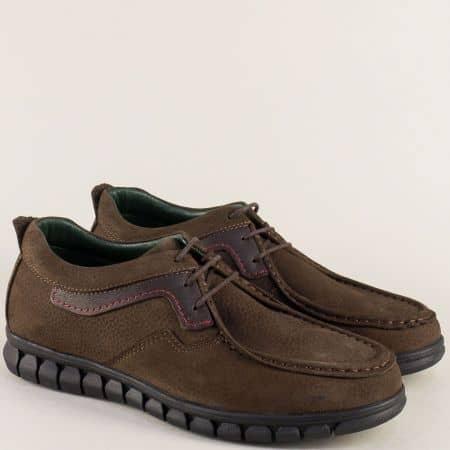 Тъмно кафяви мъжки обувки с връзки от естествен набук 2017137nkk