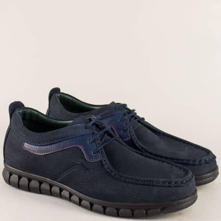 Сини мъжки обувки, тип мокасина от естествен набук 2017137ns