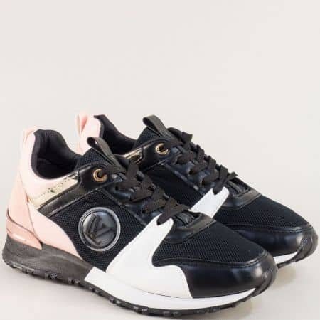 Спортни дамски обувки в бяло, розово и черно 20181chrz