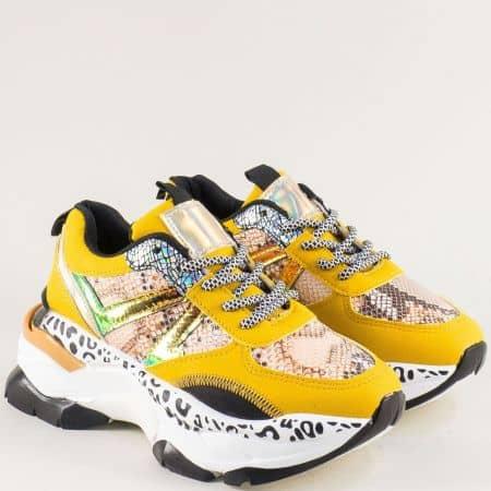 Дамски маратонки в бяло и жълто на платформа 201830jps