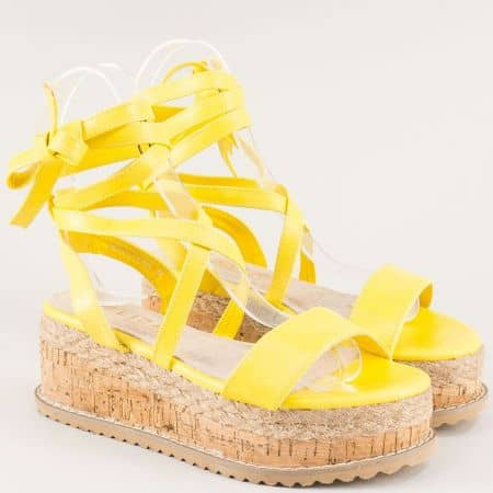 Жълти дамски сандали на платформа с връзки- ELIZA 201988j