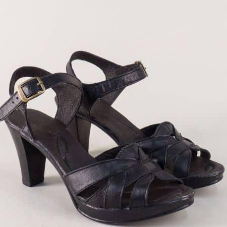 Кожени дамски сандали на висок ток в черен цвят 2026843ch
