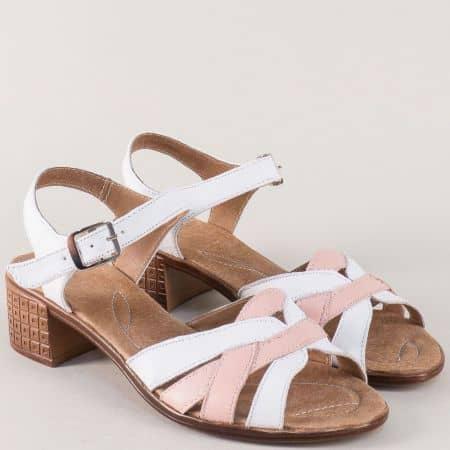 Кожени дамски сандали на среден ток в бяло и розово 2027251brz