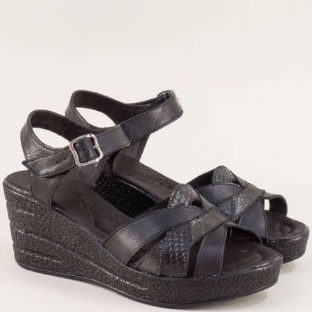 Черни дамски сандали на клин ходило с кожена стелка 20296145ch