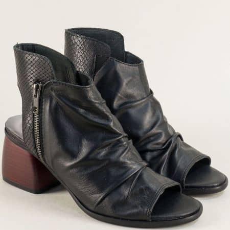 Летни дамски боти от естествена кожа в черен цвят на висок ток 2029811ch