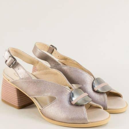Кожени дамски сандали в бежов цвят с метален блясък на висок ток 2029812bj