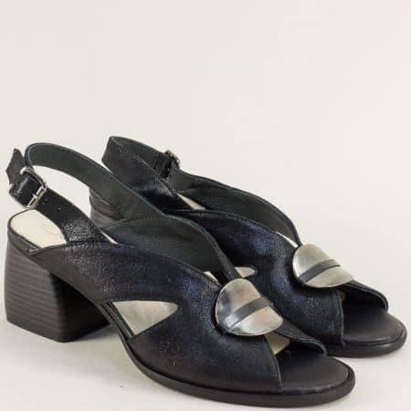 Дамски сандали от естествена кожа в черен цвят на висок ток 2029812ch