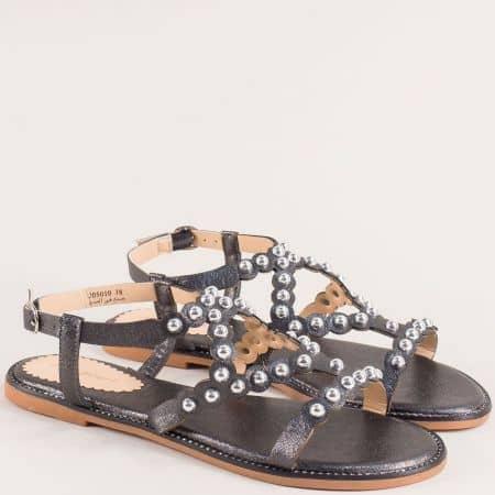 Бронзови дамски сандали на равно ходило 205010sbrz