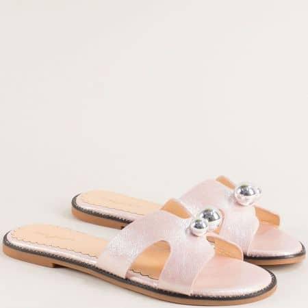 Дамски чехли в розов цвят на равно ходило- MAT STAR 205011rz