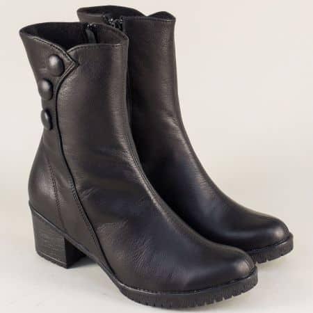 Дамски боти на среден ток в черно от естествена кожа 2051611ch