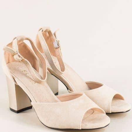 Бежови дамски сандали със затворена пета на висок ток 2052205vbj