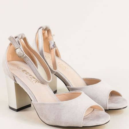 Сиви дамски сандали със затворена пета и кожена стелка  2052205vsv