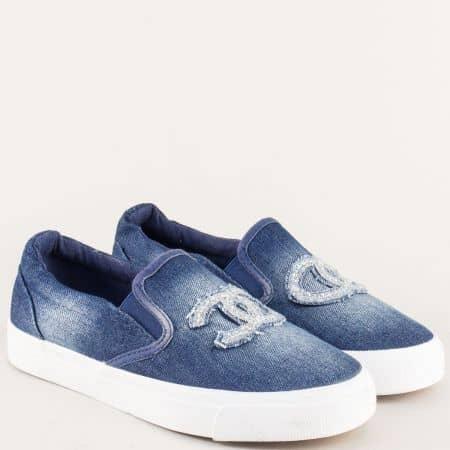 Дънкови дамски обувки в синьо на равно ходило 2057ds