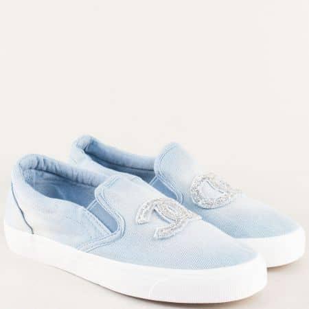Дамски обувки в синьо на равно и комфортно ходило 2057dss