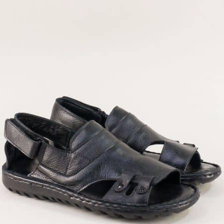 Кожени мъжки сандали със затворена пета в черно 206107ch