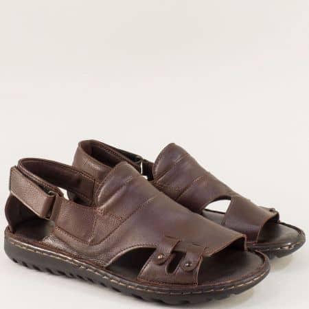 Тъмно кафяви мъжки сандали с кожена стелка и лепка 206107kk