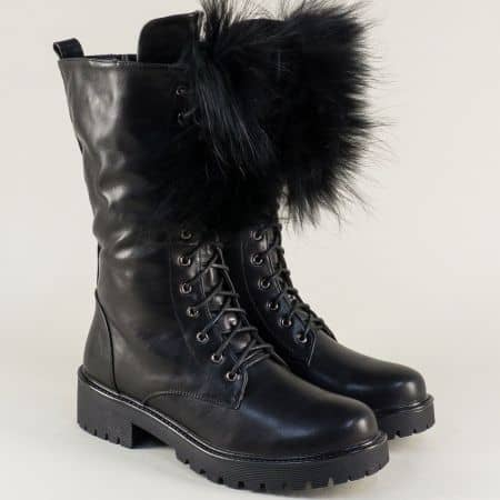 Модерни дамски ботуши в черно на стабилно ходило 207885ch