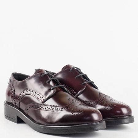 Лачени ежедневни дамски обувки  от естествен лак с кожена стелка и връзки 2078lbd