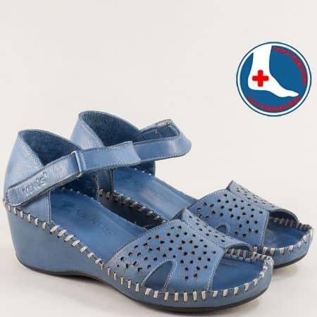 Сини дамски сандали от естествена кожа на клин ходило  20793061s