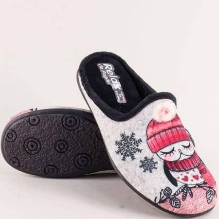 Дамски домашни чехли в черен цвят с декорация- RELAX 2088ch