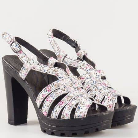 Пъстри дамски сандали на висок ток от естествена кожа изцяло- български производител 20915493ps