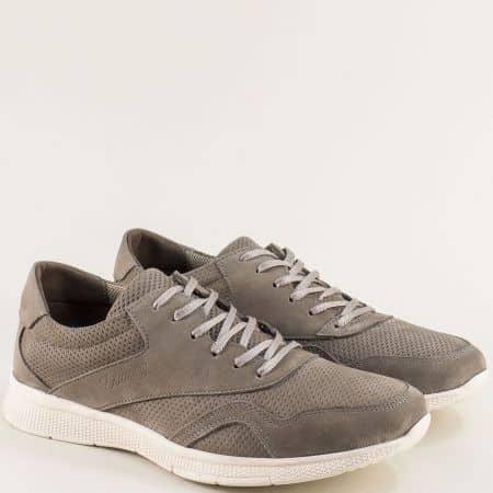 Спортни мъжки обувки от естествена набук в сив цвят 2093nsv