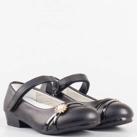Детски удобни обувки с кожена анатомична стелка и велкро лепенка на български производител в черен цвят 2097ch