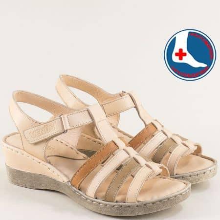 Бежови дамски сандали от естествена кожа на клин ходило 20981102bjps