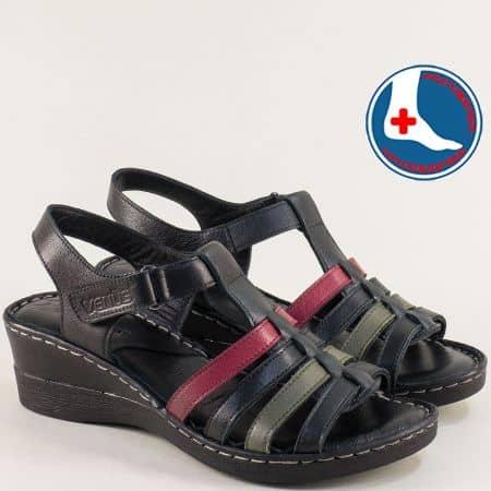 Кожени дамски сандали в черно, зелено и бордо 20981102chps