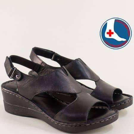 Черни дамски сандали на клин ходило от есествена кожа 20981103ch