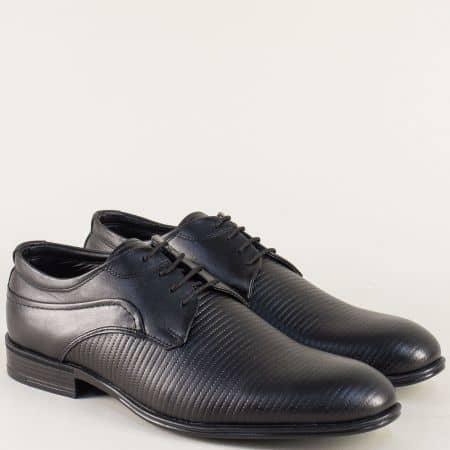 Черни мъжки обувки от естествена кожа на равно ходило 20991ch